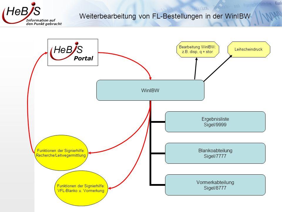 Weiterbearbeitung von FL-Bestellungen in der WinIBW