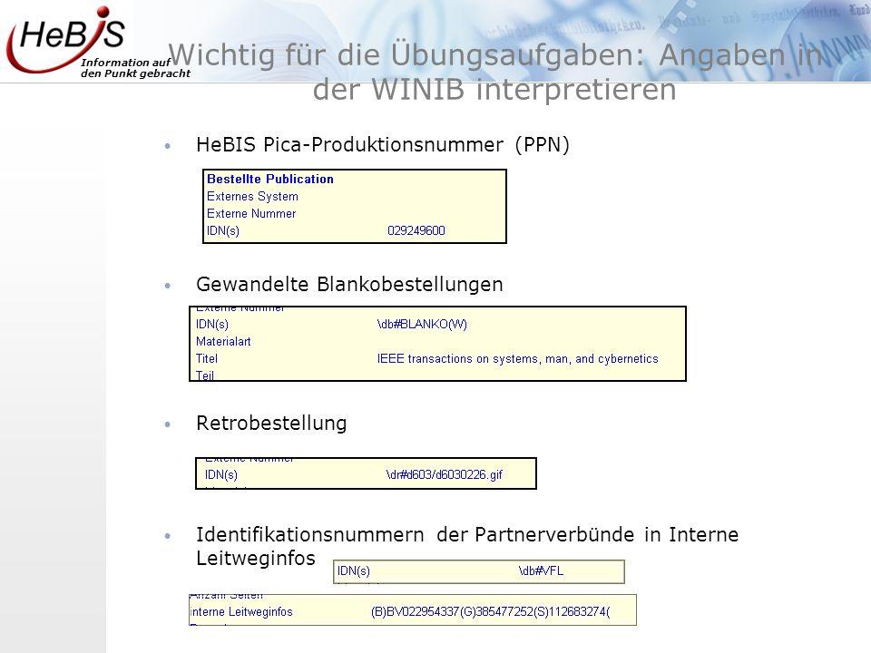 Wichtig für die Übungsaufgaben: Angaben in der WINIB interpretieren