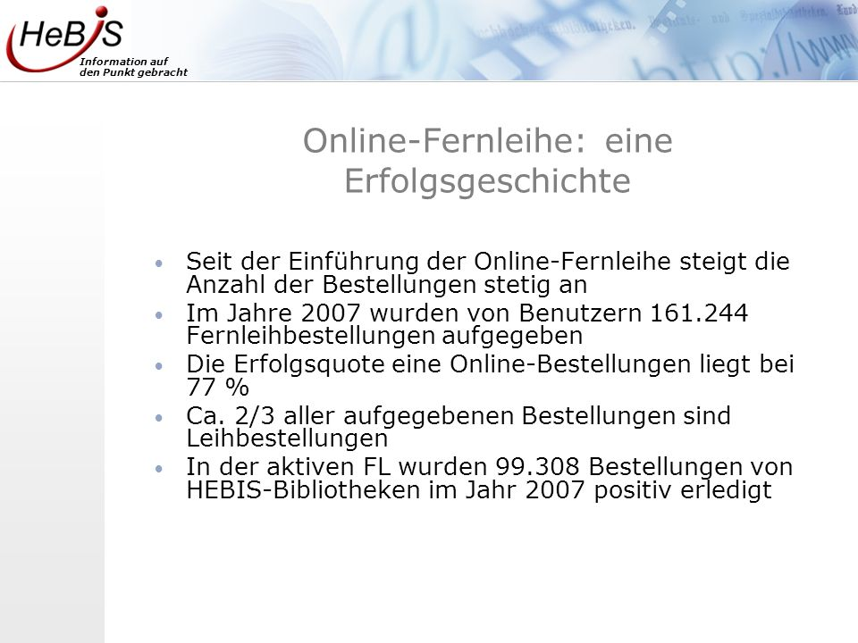 Online-Fernleihe: eine Erfolgsgeschichte