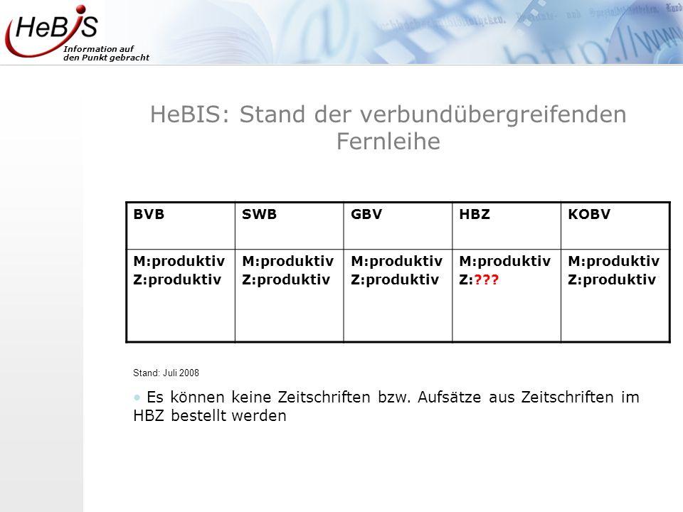 HeBIS: Stand der verbundübergreifenden Fernleihe