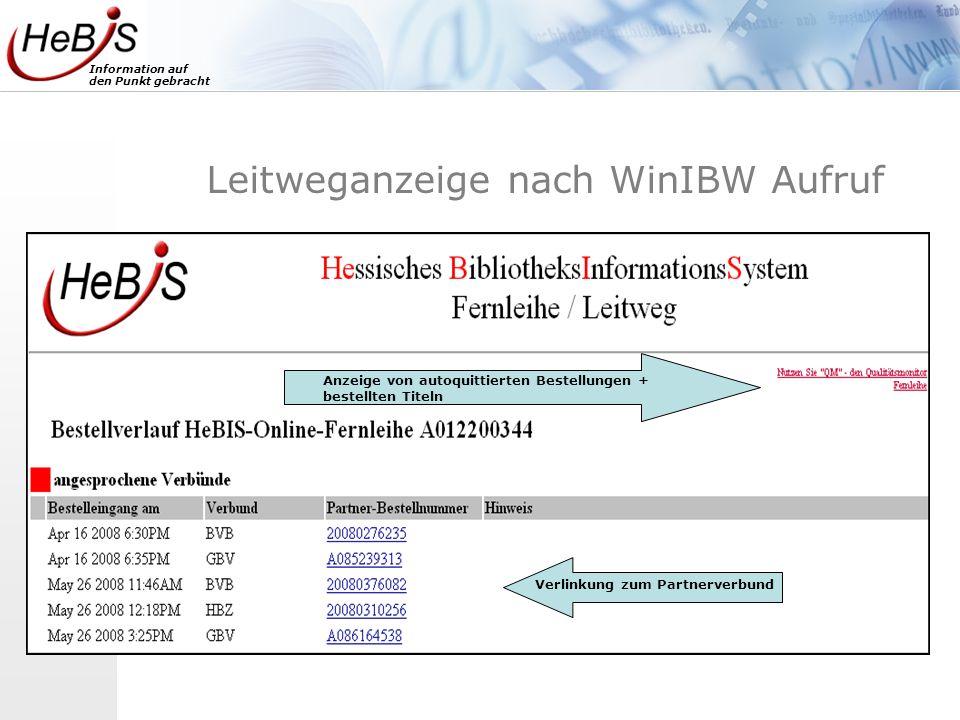 Leitweganzeige nach WinIBW Aufruf