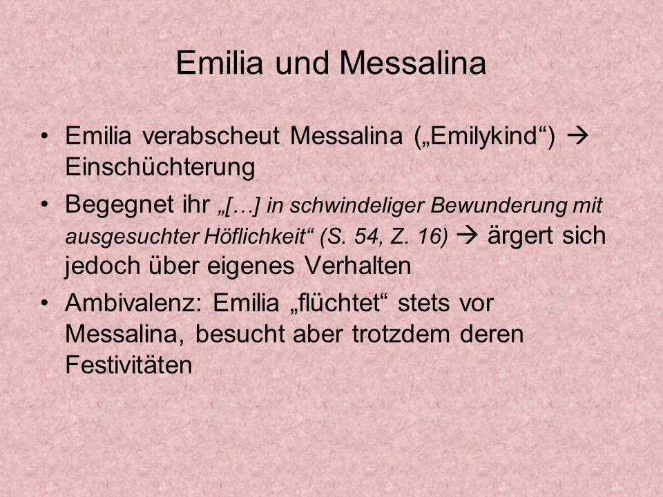 """Emilia und Messalina Emilia verabscheut Messalina (""""Emilykind )  Einschüchterung."""