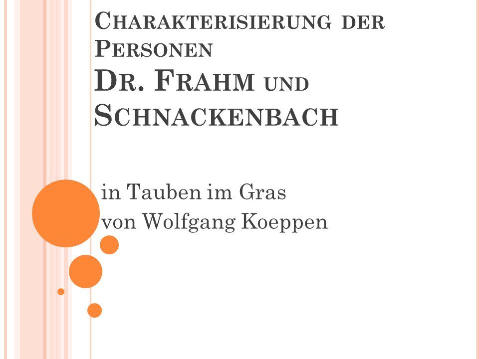 Charakterisierung der Personen Dr. Frahm und Schnackenbach