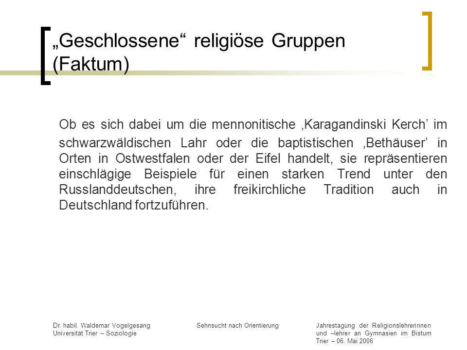 """Geschlossene religiöse Gruppen (Faktum)"