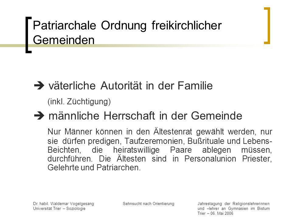 Patriarchale Ordnung freikirchlicher Gemeinden