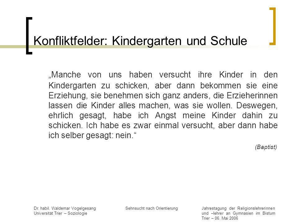 Konfliktfelder: Kindergarten und Schule