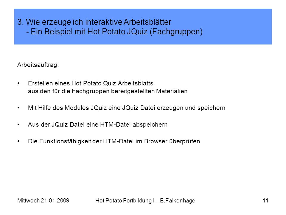 Hot Potato Fortbildung I – B.Falkenhage