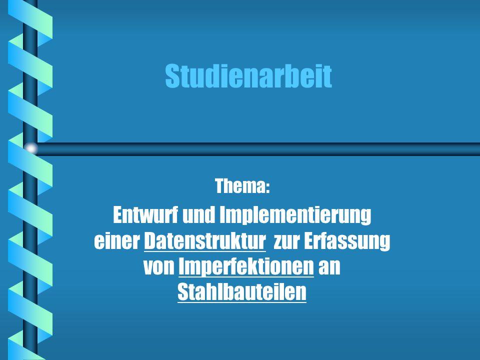 StudienarbeitThema: Entwurf und Implementierung einer Datenstruktur zur Erfassung von Imperfektionen an Stahlbauteilen.