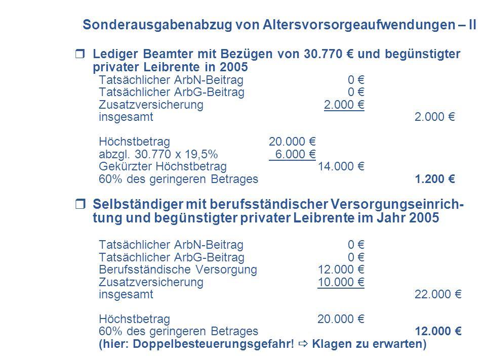 Sonderausgabenabzug von Altersvorsorgeaufwendungen – II