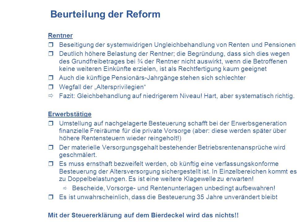 Beurteilung der Reform