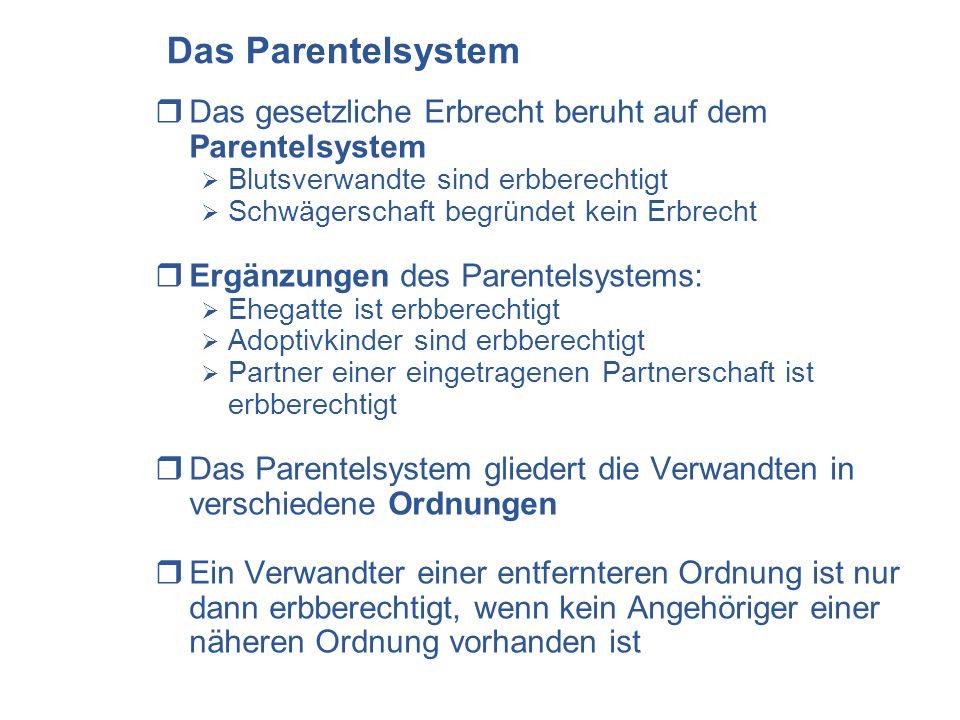 Das Parentelsystem Das gesetzliche Erbrecht beruht auf dem Parentelsystem. Blutsverwandte sind erbberechtigt.