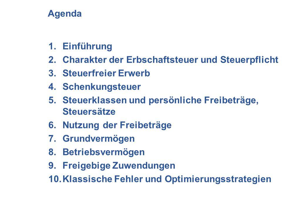 Agenda Einführung. Charakter der Erbschaftsteuer und Steuerpflicht. Steuerfreier Erwerb. Schenkungsteuer.