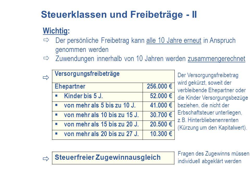 Steuerklassen und Freibeträge - II