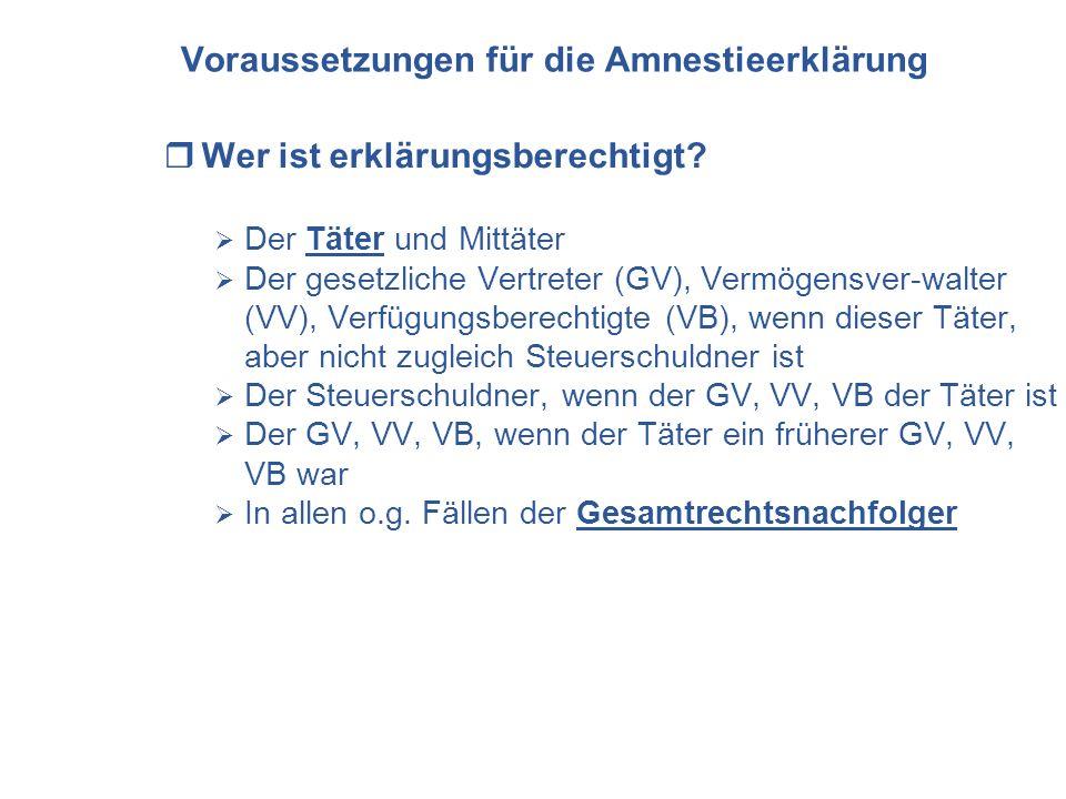 Voraussetzungen für die Amnestieerklärung