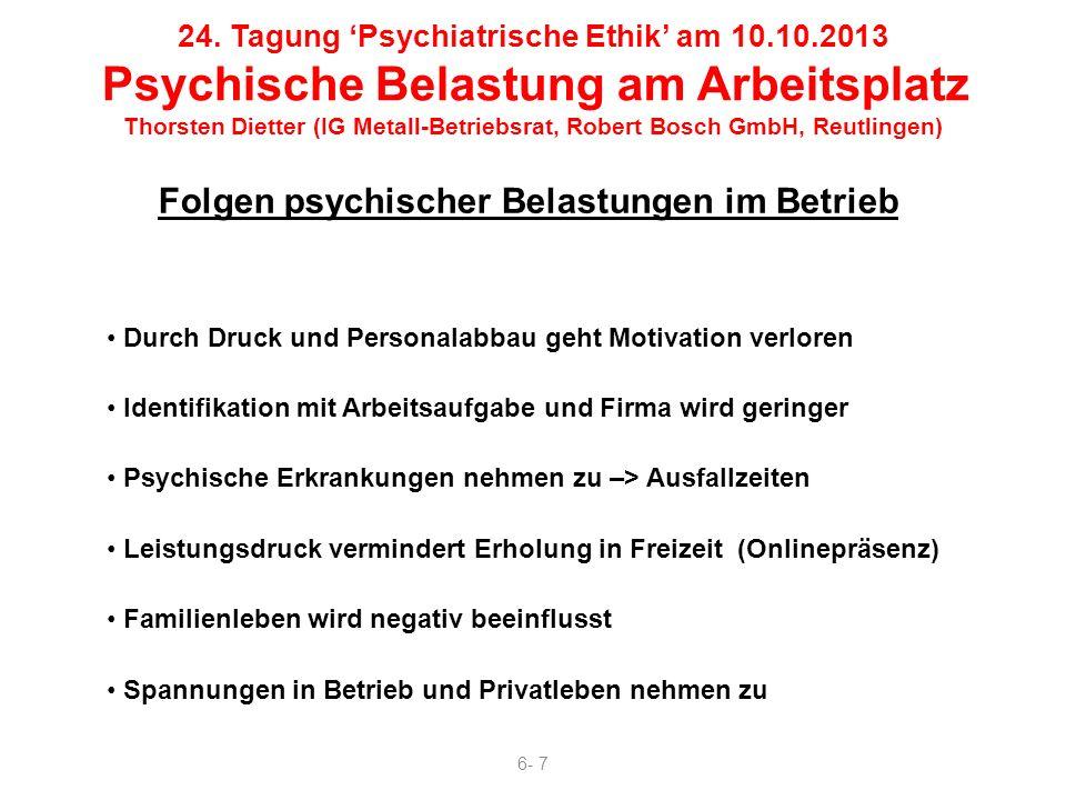 Folgen psychischer Belastungen im Betrieb