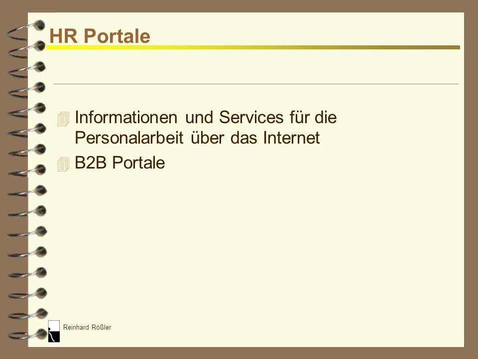 HR Portale Informationen und Services für die Personalarbeit über das Internet B2B Portale