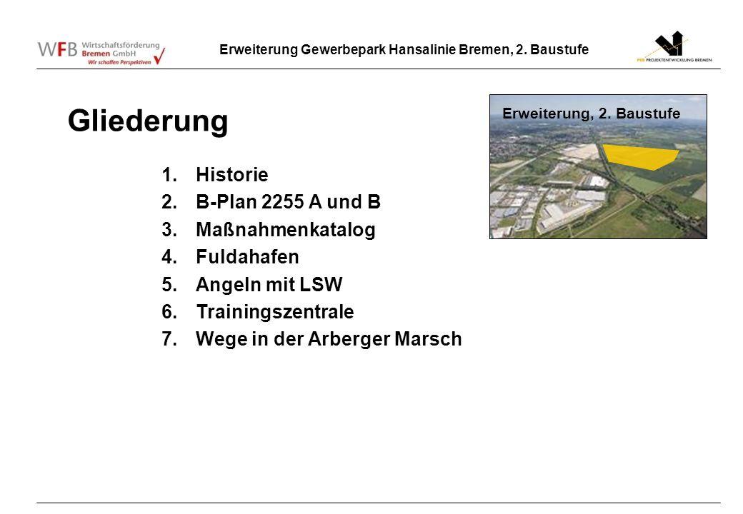 Gliederung Historie B-Plan 2255 A und B Maßnahmenkatalog Fuldahafen