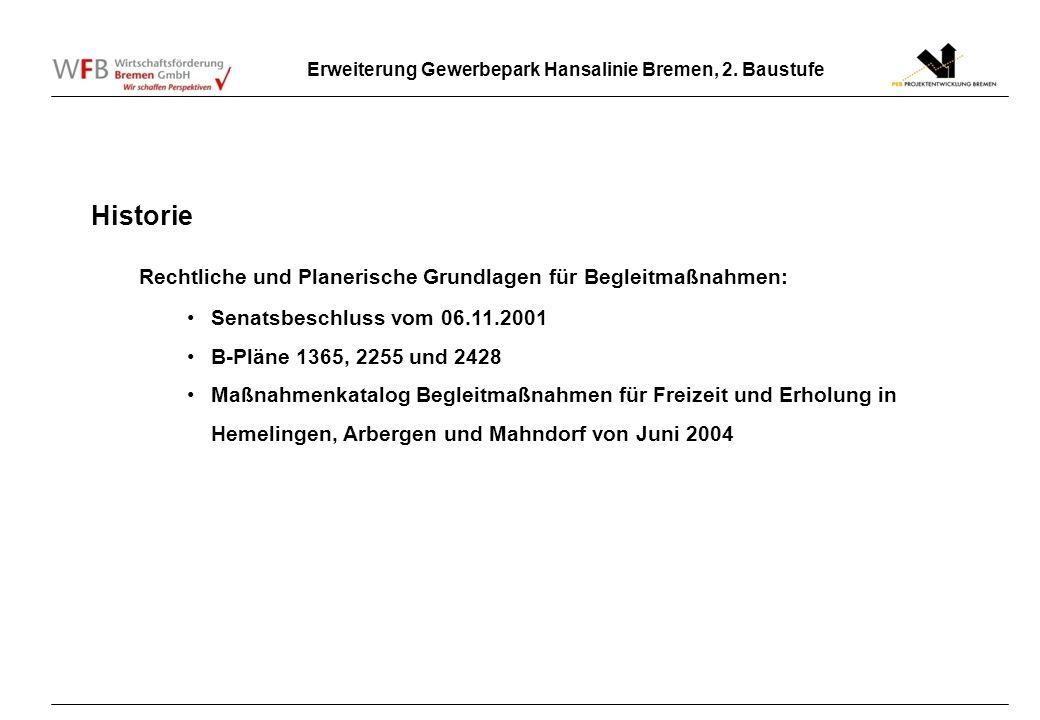 Historie Rechtliche und Planerische Grundlagen für Begleitmaßnahmen: