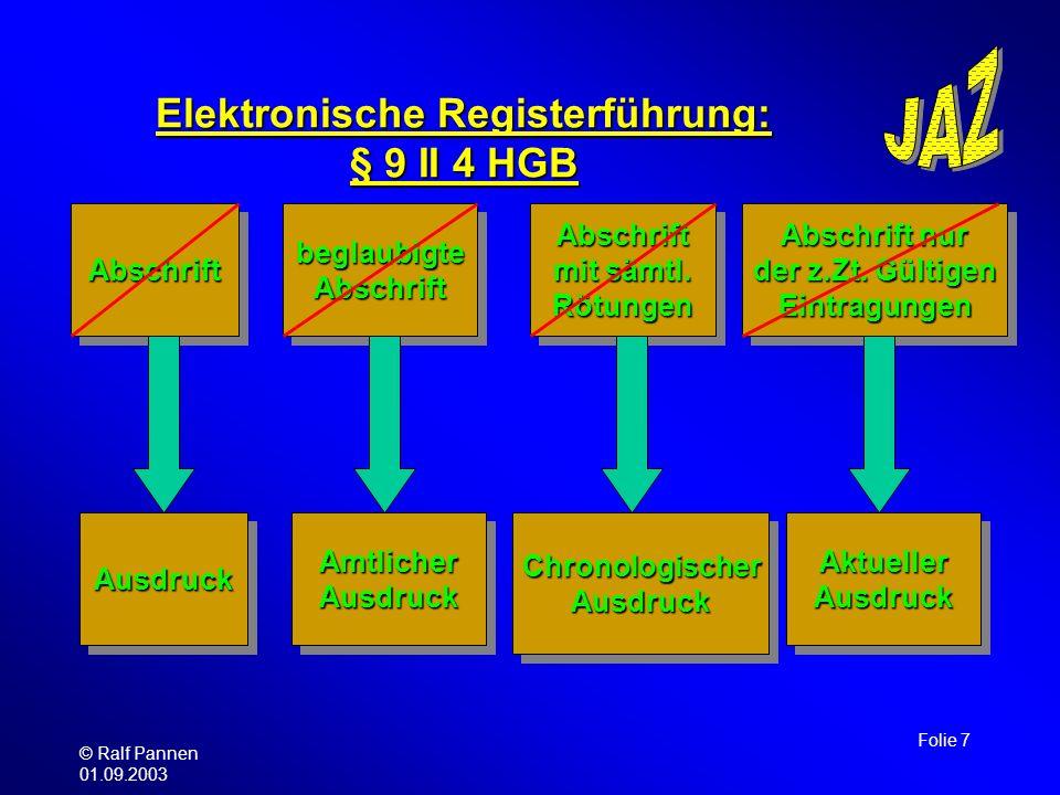 Elektronische Registerführung: § 9 II 4 HGB