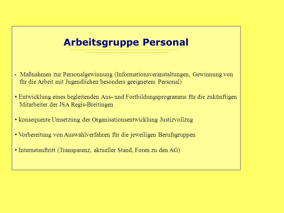 Arbeitsgruppe Personal