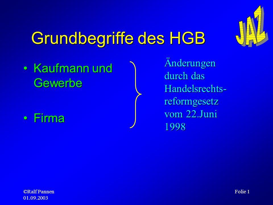 Grundbegriffe des HGB Kaufmann und Gewerbe Firma