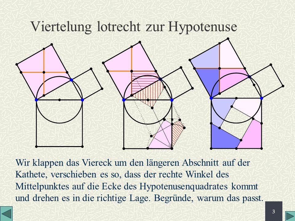 Viertelung lotrecht zur Hypotenuse