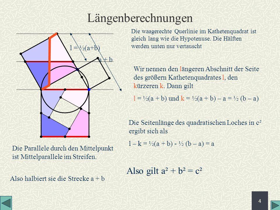 Längenberechnungen Also gilt a² + b² = c² l = ½(a+b) a + b