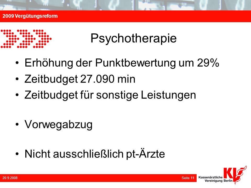 Psychotherapie Erhöhung der Punktbewertung um 29%