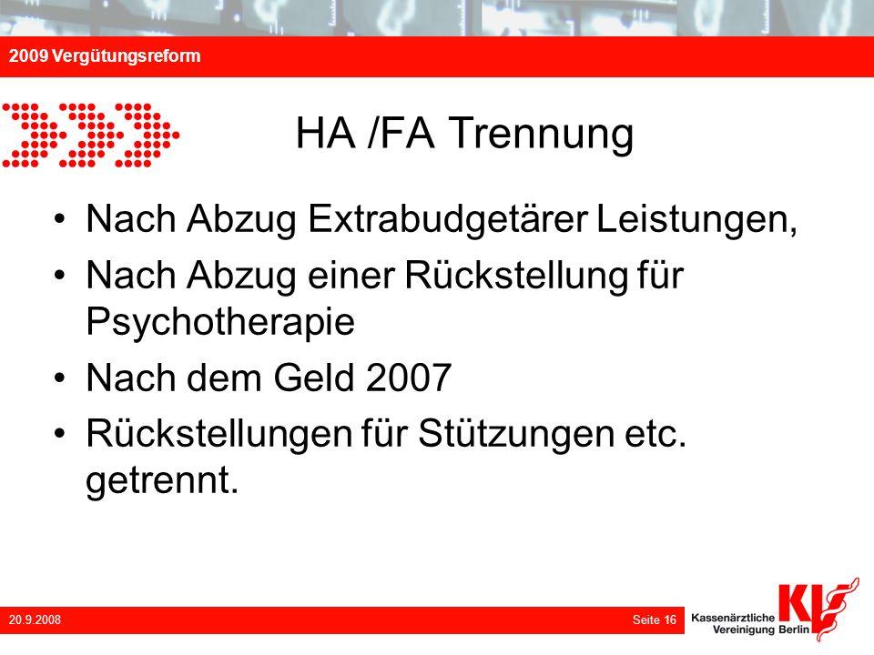 HA /FA Trennung Nach Abzug Extrabudgetärer Leistungen,