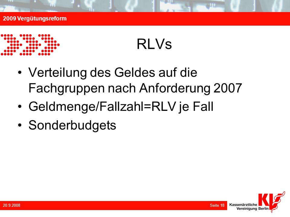 RLVs Verteilung des Geldes auf die Fachgruppen nach Anforderung 2007