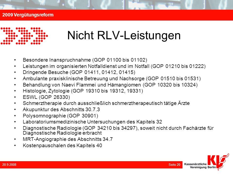 Nicht RLV-Leistungen Besondere Inanspruchnahme (GOP 01100 bis 01102)
