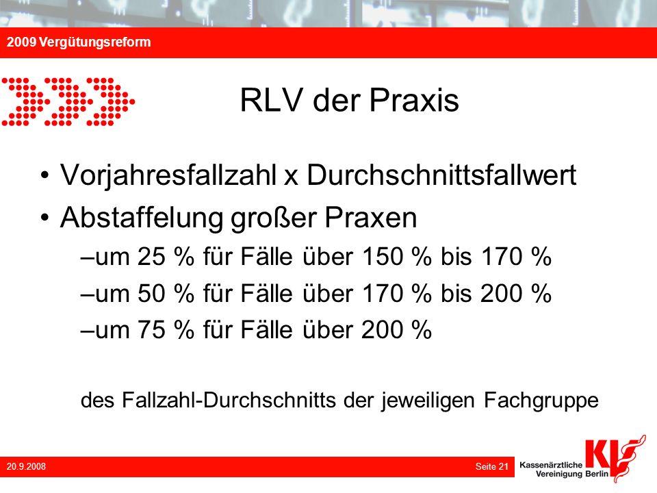 RLV der Praxis Vorjahresfallzahl x Durchschnittsfallwert