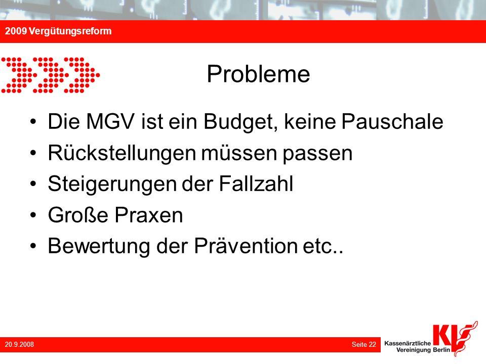 Probleme Die MGV ist ein Budget, keine Pauschale