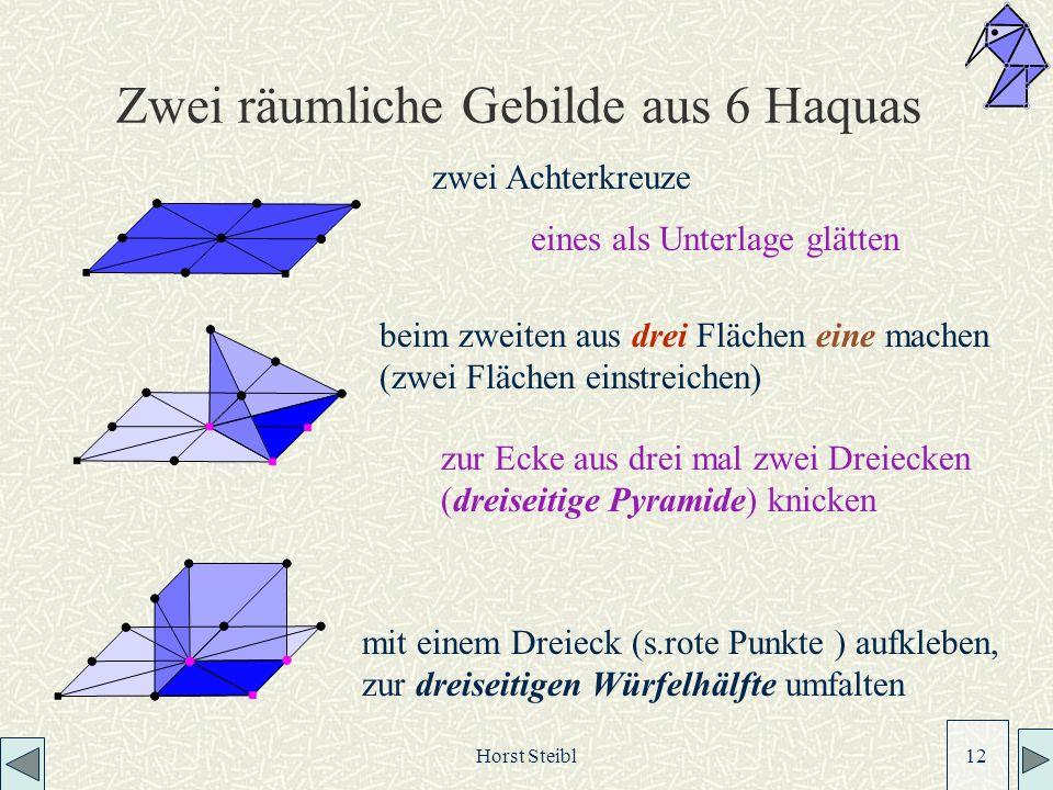 Zwei räumliche Gebilde aus 6 Haquas