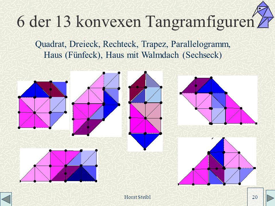 6 der 13 konvexen Tangramfiguren