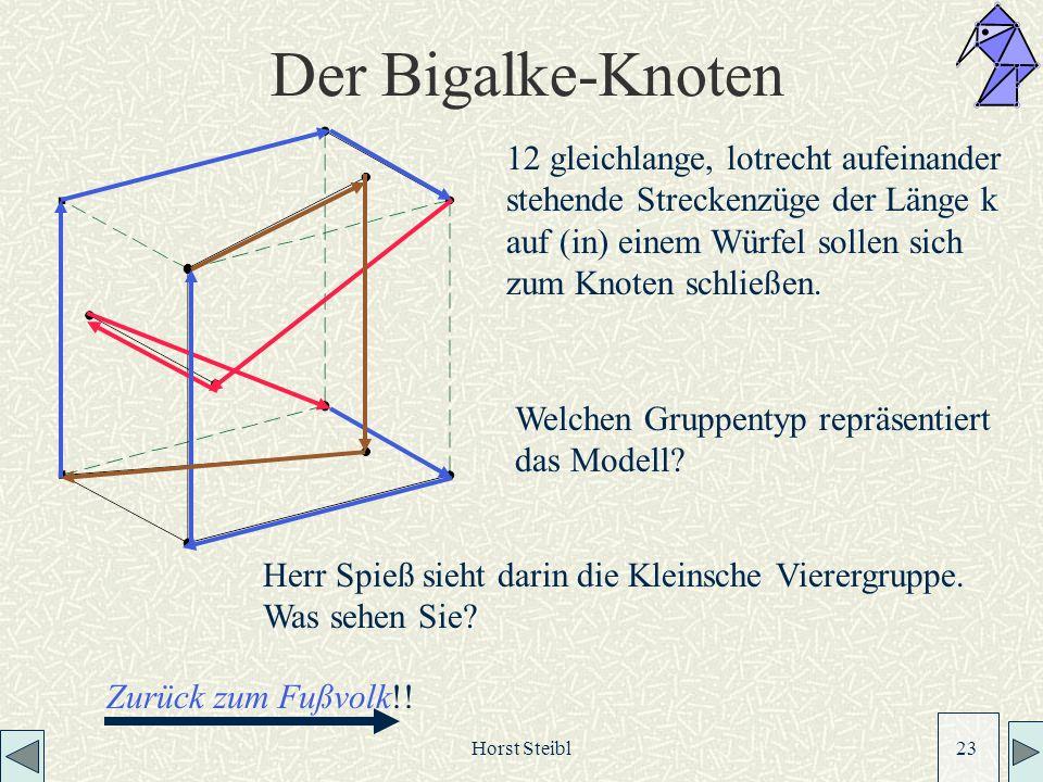 Der Bigalke-Knoten 12 gleichlange, lotrecht aufeinander stehende Streckenzüge der Länge k auf (in) einem Würfel sollen sich zum Knoten schließen.