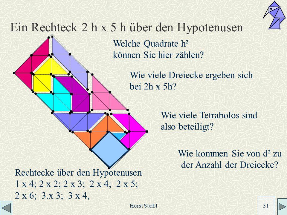 Ein Rechteck 2 h x 5 h über den Hypotenusen