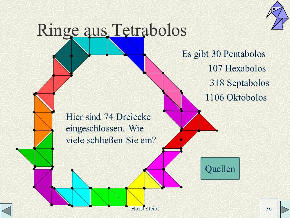 Ringe aus Tetrabolos Es gibt 30 Pentabolos 107 Hexabolos