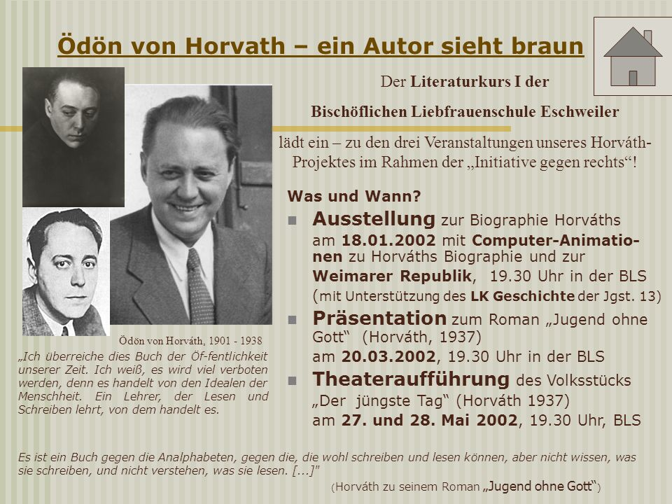 Ö Ödön von Horvath – ein Autor sieht braun