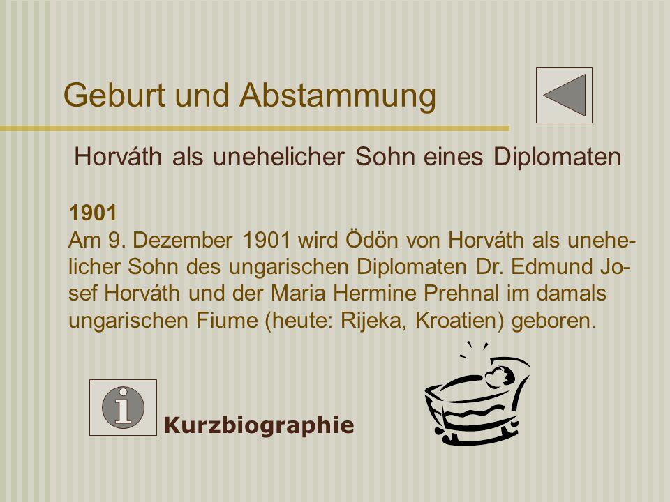 Geburt und Abstammung Horváth als unehelicher Sohn eines Diplomaten