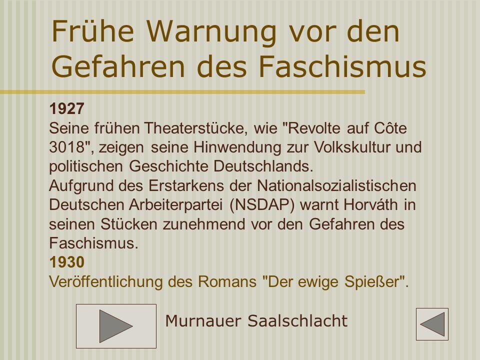 Frühe Warnung vor den Gefahren des Faschismus