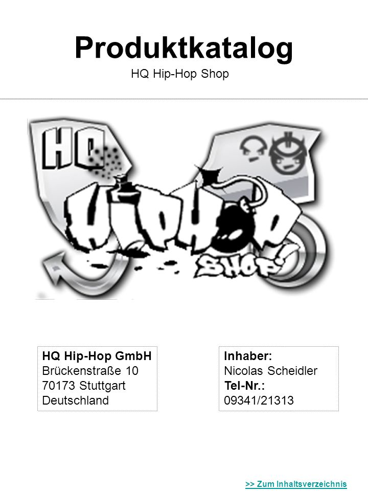 Produktkatalog HQ Hip-Hop Shop