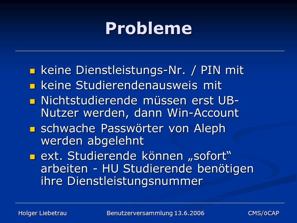 Probleme keine Dienstleistungs-Nr. / PIN mit