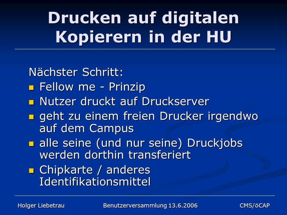 Drucken auf digitalen Kopierern in der HU