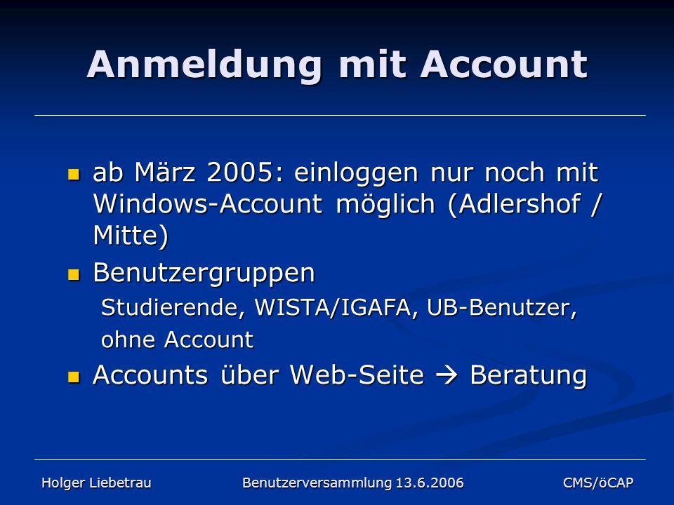 Anmeldung mit Account ab März 2005: einloggen nur noch mit Windows-Account möglich (Adlershof / Mitte)