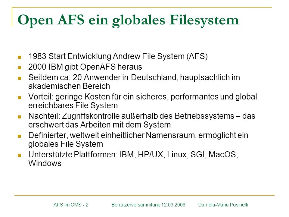 Open AFS ein globales Filesystem