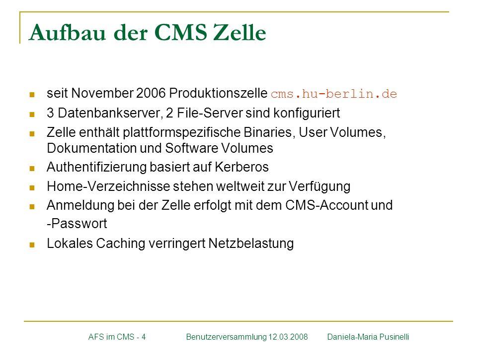 Aufbau der CMS Zelle seit November 2006 Produktionszelle cms.hu-berlin.de. 3 Datenbankserver, 2 File-Server sind konfiguriert.