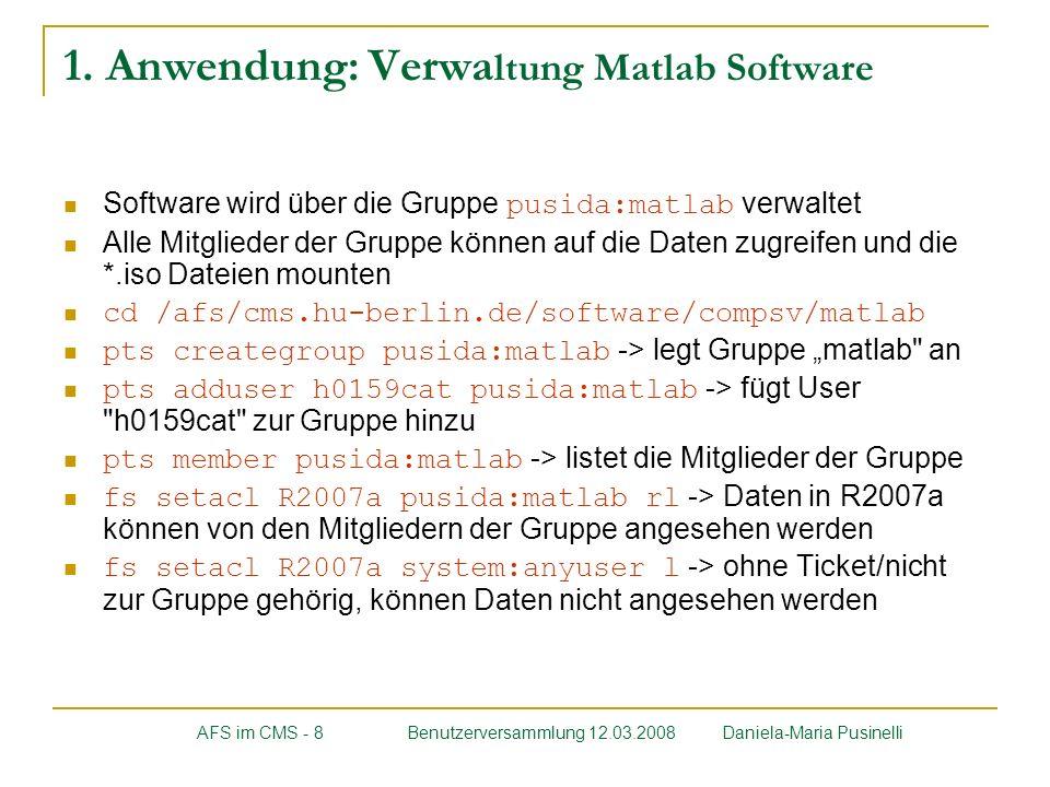 1. Anwendung: Verwaltung Matlab Software