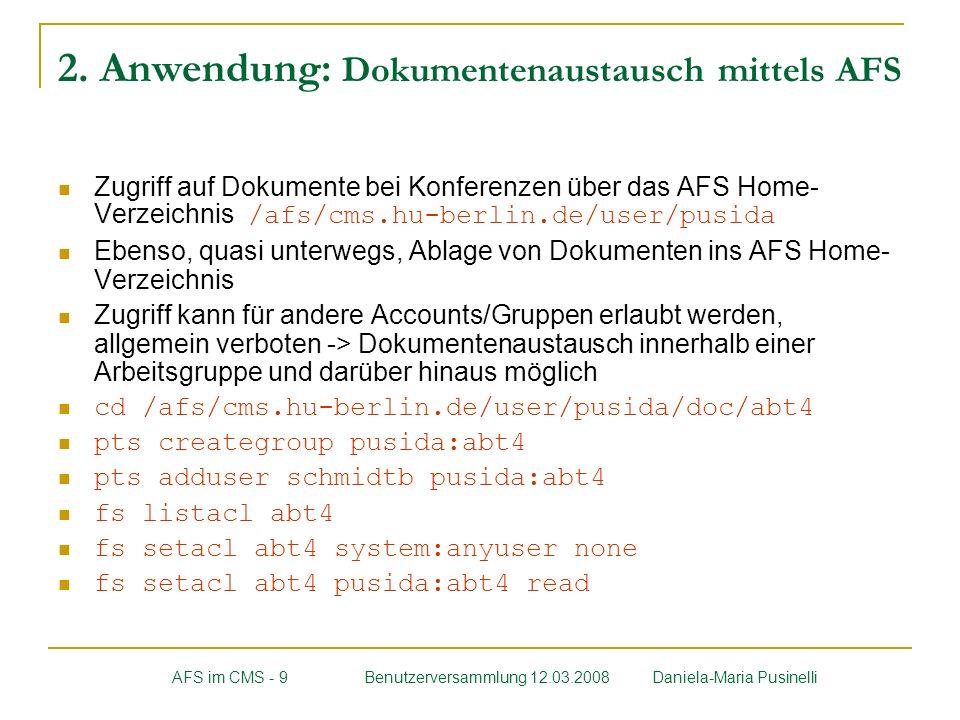 2. Anwendung: Dokumentenaustausch mittels AFS