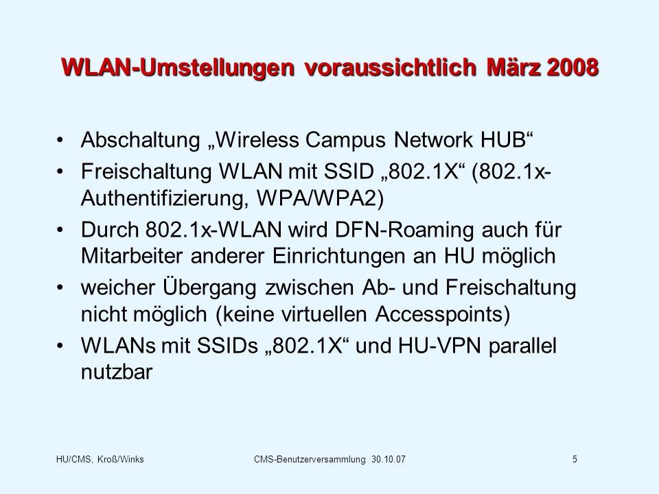 WLAN-Umstellungen voraussichtlich März 2008
